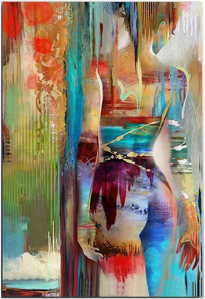 Moderne Hip-Hop Tattoo Frauen Und Amerikanerin Nackte K/örper R/ückansicht Buntes Poster HD Gedruckt Abstrakte M/ädchen Leinwand Gem/älde Home Wanddekorkunst Rahmenlos,Hiphoptattoo,40/×50cm