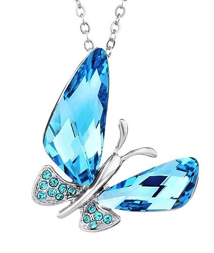 39082fd9e412 NEOGLORY Collar de Mariposa con Cristales Swarovski Azul Joya Original  Regalo Mujer Chica