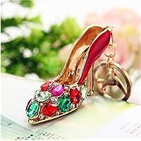 Creative Crystal Shoes Keychain High Heels Keyring Rhinestones Purse Handbag Pendant (Red) Ornament