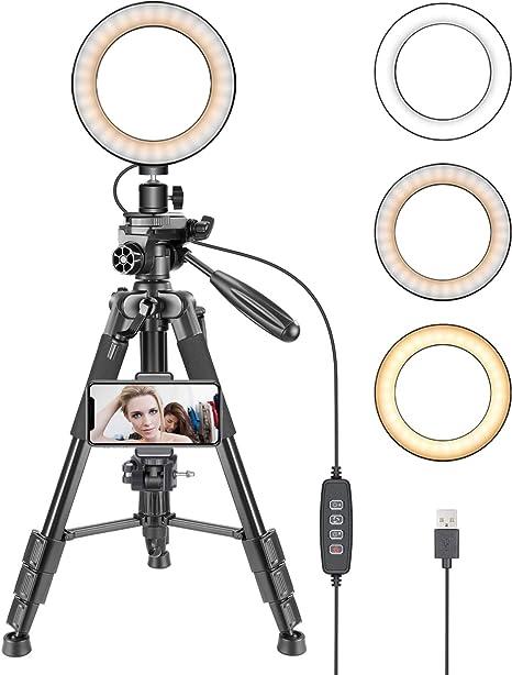 Fasteer Portable Ring Light LED Ring Beauty Lamp Adjustable Brightness USB Power Supply