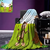smallbeefly Nursery Throw Blanket Three Monkeys Playing in a Tropical Forest Banana Africa Safari Nature Warm Microfiber All Season Blanket for Bed or Couch Pale Blue Brown Green