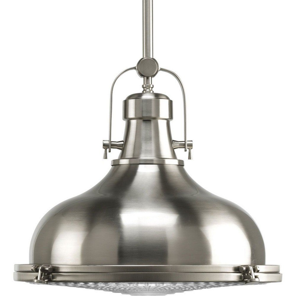 Progress Lighting P5197-09 Fresnel Collection 1-Light Pendant, Brushed Nickel