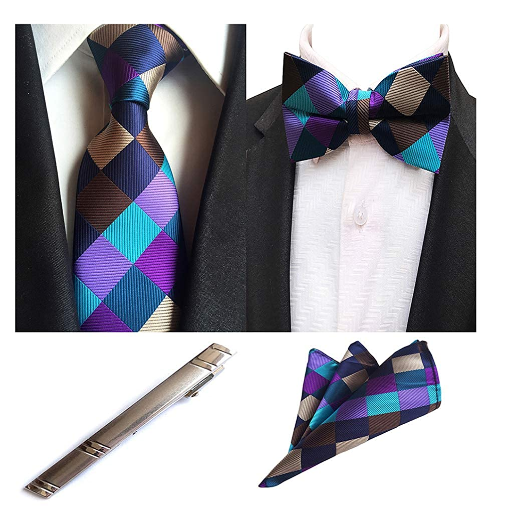 MOHSLEE Mens Plaid Wedding Suit Necktie Bow Tie Metal Tie Clip Pocket Square Set