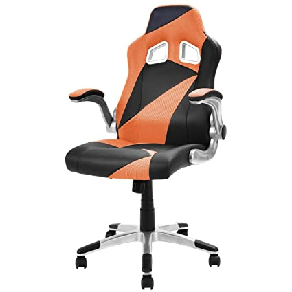 Giantex Executive Racing Chair PU Leather Bucket Seat Gaming Chair Office  Computer Desk, Orange
