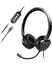 Micro Casque PC Filaire Téléphone Binaural,USB/3.5mm avec Microphone Réduction du Bruit, Oreillette Professionnelle avec Fil pour Smartphone, Skype, Bureau,Centre d'Appel,PC Gamer/PS3/PS4-Noir