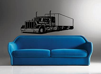 Wall Decor Vinyl Sticker Room Decal Art Tattoo Semi Huge 18 Wheeler Truck 630