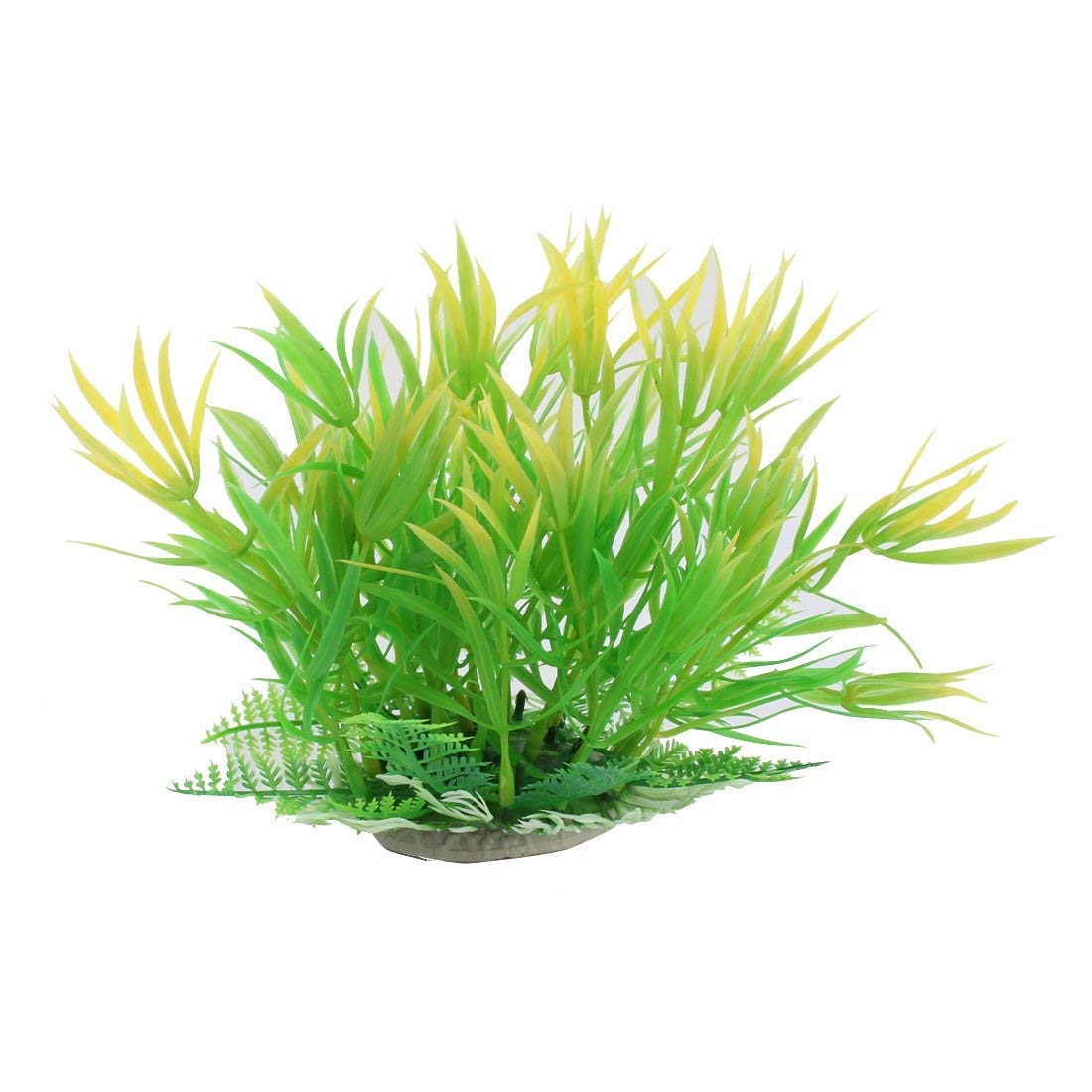 1Pc Plastic Buckhorn Shape Aquarium Decoration Artificial Grass Plant Green orange