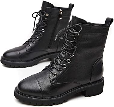 Womens Fur Lined Ankle Boots Ladies Vintage Army Combat Biker Winter Warm Shoes