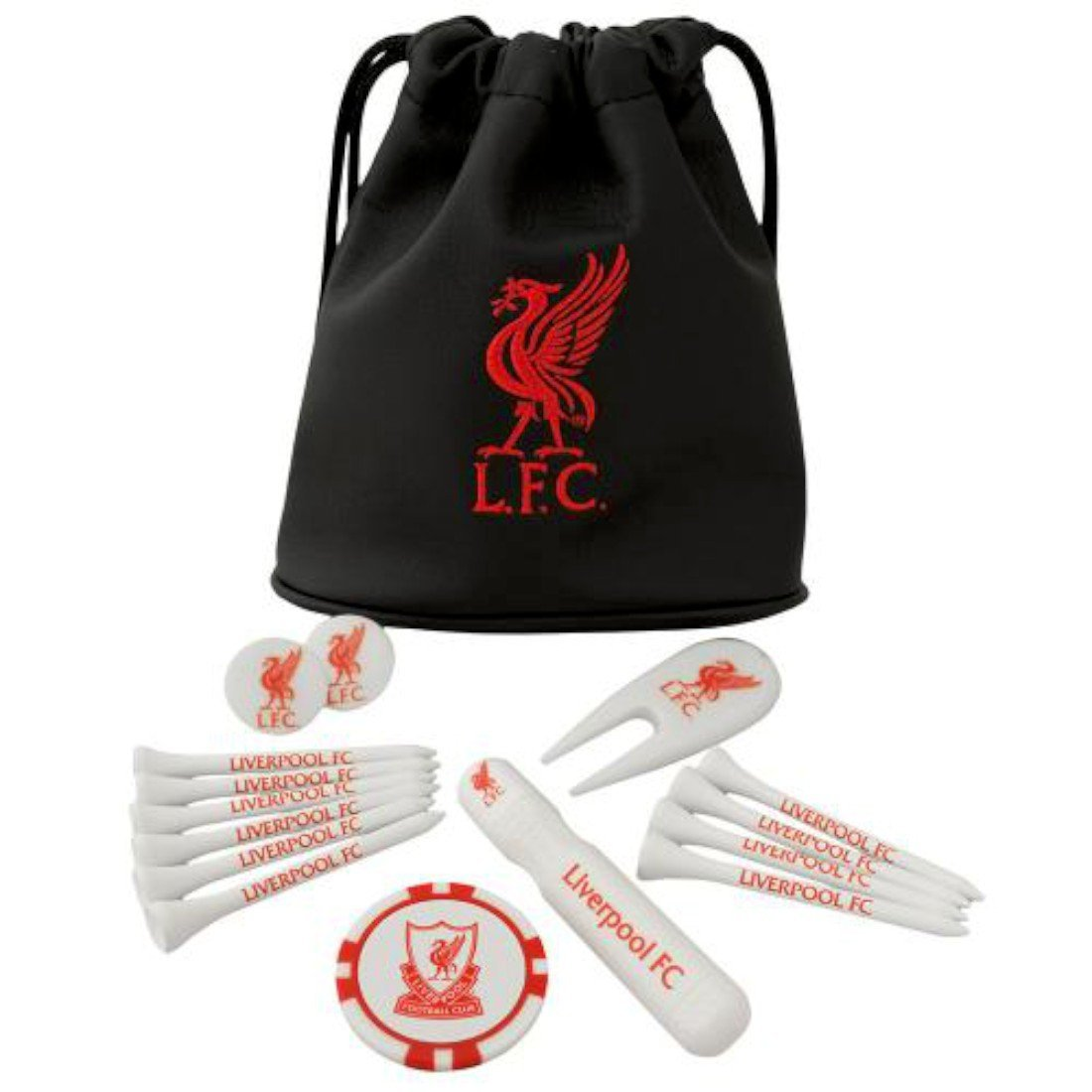 Liverpool FC Tote Bag Golf Gift Set - Great Gift for any Liverpool FC Golf Fan - Includes golf tees, ball markers and more - Official Liverpool FC Product - Makes a Great Gift for LFC Golf Fans
