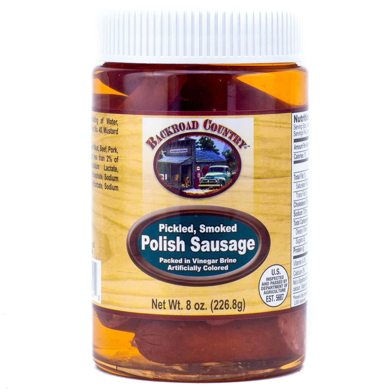 Backroad Country Pickled Smoked Polish Sausage 8 Ounces