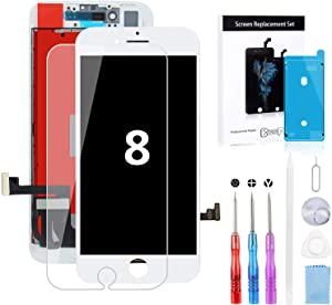 BeeFix Fit iPhone 8 Screen Replacement White (4.7 Inch) 3D Touch LCD Screen Digitizer Replacement Display Assembly Repair Kits with Waterproof Adhesive,Tempered Glass,Tools and Instruction