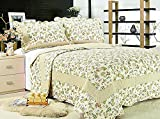 Fashion Brands Group 3-Piece Reversible Bedspread/Coverlet / Quilt Set-with Patchwork Sage Green Leaves Prints