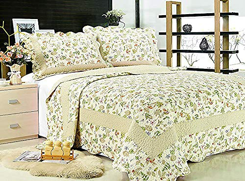 Fashion Brands Group 3-Piece Reversible Bedspread/Coverlet / Quilt Set-with Patchwork Sage Green Leaves Prints by Fashion Brands Group