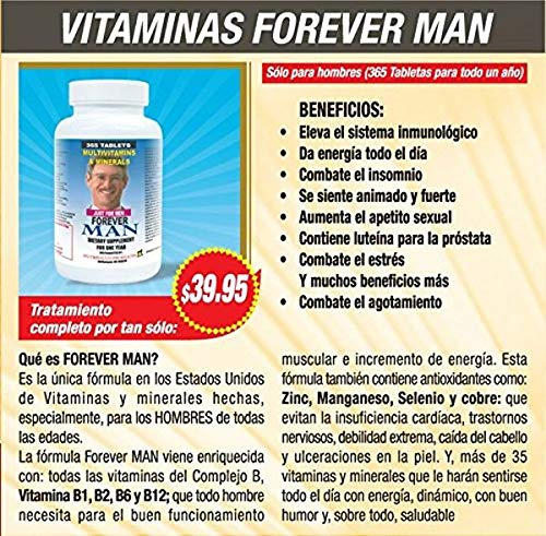 Forever Man Multivitaminas para Hombre. 365 Tabletas para todo un año. Combaten cansancio y debilidad. Aumentan la energia, apetito Sexual, elevan ...