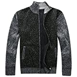 Vcansion Men's Long Sleeve Zip up Thick Cardigan Sweater with Pockets Black US XL