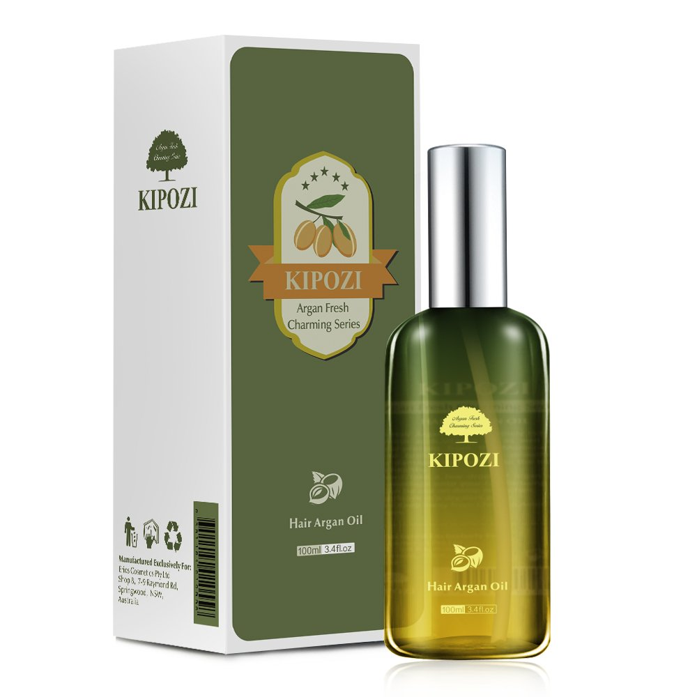 KIPOZI Argan Oil for Hair,Heat Protector Anti-Frizz Hair Repair Serum Leave in Treatment for Frizz Control, Shine and Straightening,Repair Damage Hair&Split ends,3.4 fl. Oz by kipozi (Image #1)