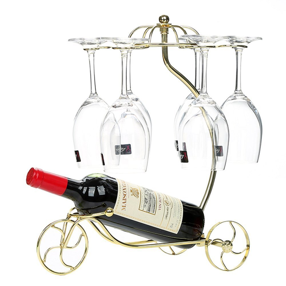 LOHOME Wine Rack and Cup Holder, European Style Tricycle Vintage Red Wine Bottle Glasses Holder Hanging Upside Down Cup Goblets Display Rack Free Standing Rack Table Top Modern Art (Golden.)