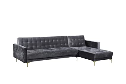 Iconic Home FSA9007-AN Amandal Convertible Sofa Sleeper Bed L Shape Chaise  Tufted Velvet Upholstered Gold Tone Metal Y-Leg Modern Contemporary, Right  ...