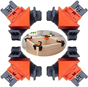 90 Degree Angle Clamps , Woodworking Corner Clip, Right Angle Clip Fixer, Set of 4 Clamp Tool with Adjustable Hand Tools (orange+black)