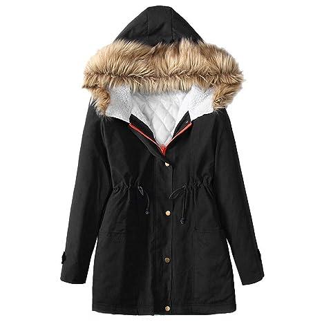 Qiusa Womens Winter Fleece Manga Larga con Capucha al Aire Libre Windbreaker Warm Zip Bolsillo Chaqueta