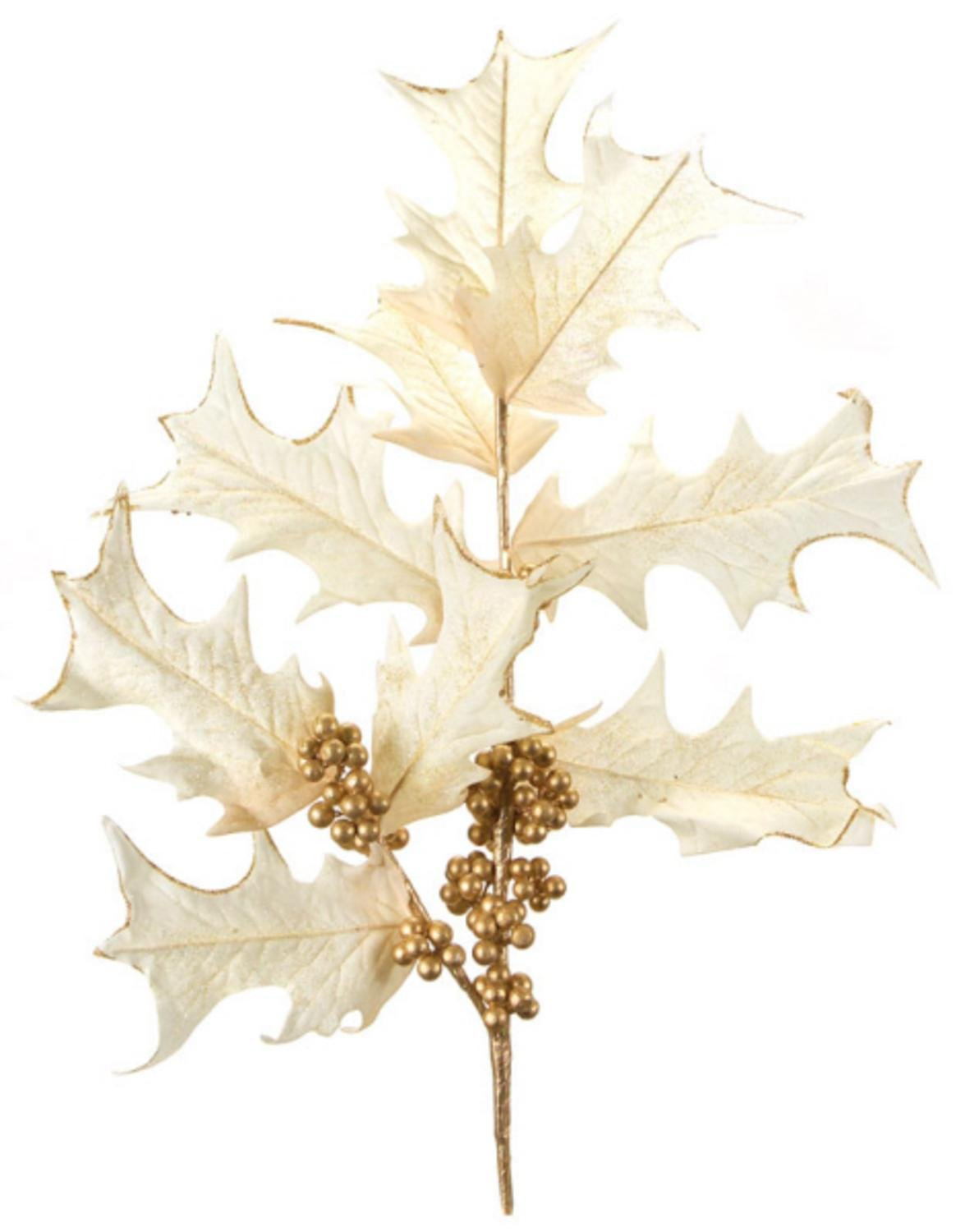Ivory and Gold Artificial Holly Berry Spray -  Pack of 4