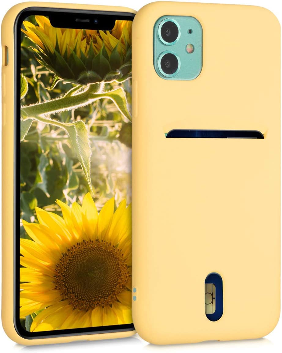 kwmobile Case Compatible with Apple iPhone 11 - Phone Cover with Card Holder and Rubber Finish - Yellow