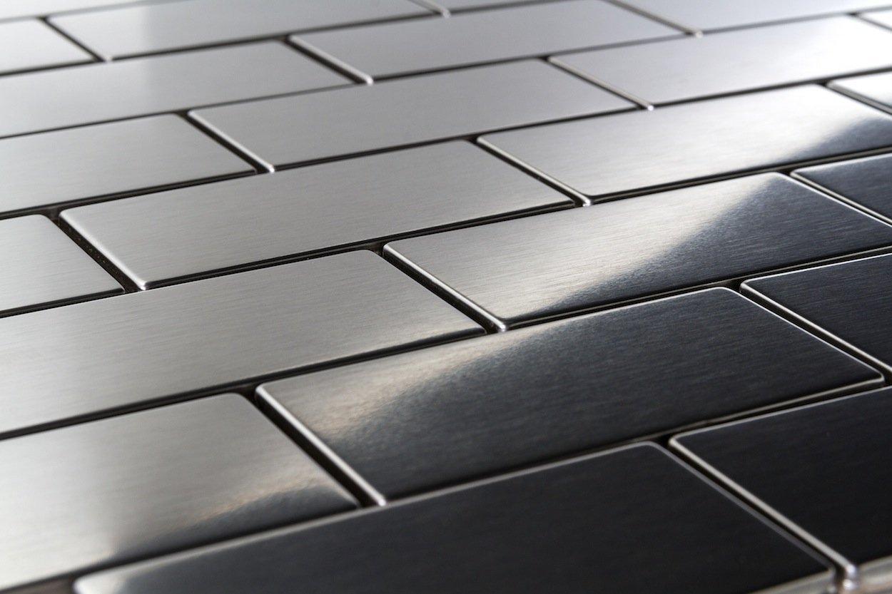Stainless Steel Subway Brick Kitchen Backsplash Bathroom Mosaic Tile
