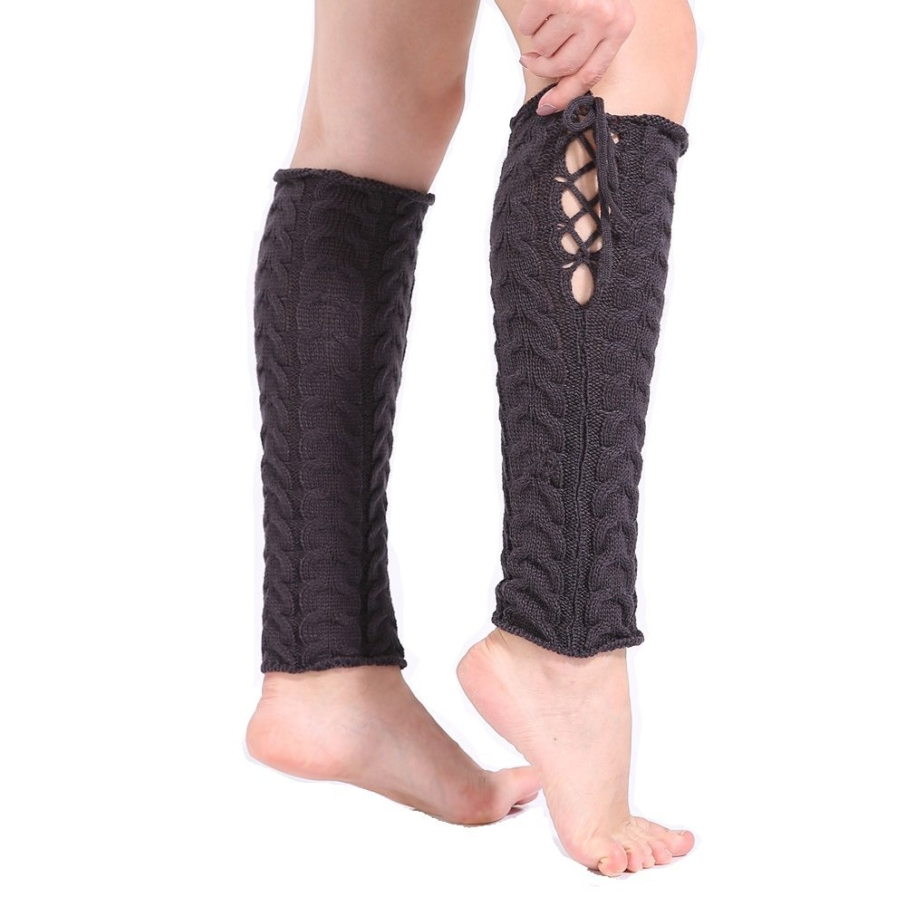 Junning Winter Warm Knit Tie Leg Warmer Boot Socks