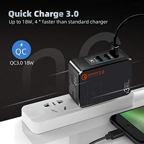 USB Wall Charger Quick Charge 3.0,USB Power Adapter with Dual Ports 5V//2.4A Foldable Plugs,38W//110V-240V iPad Pro//Air Mini Portable for iPhone 11//Xs//XS Max//XR//X//8//7//Plus Samsung S4//S5.