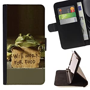 Funny Gift Phone Case Leather Wallet Protective Case with Slots for Money Cards fit LG OPTIMUS L90 //Funny Will Work For Food Frog//