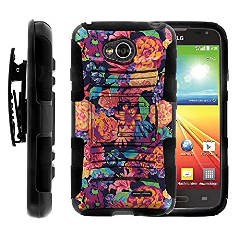 LG Ultimate 2 Case, LG Ultimate 2 Holster, Two Layer Hybrid Armor Hard Cover with Built in Kickstand for LG Optimus L70 MS323, LG Optimus Exceed 2 VS450PP, LG Realm LS620, LG Ultimate 2 L41C (Metro PCS, Verizon, Boost Mobile) from MINITURTLE | Includes Screen Protector - Floral (Cover De Lg 70)
