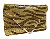 A+ Womens Black And gold Zebra Design Beaded Handbag With Light Silver Accessories EV3779-GD