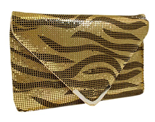 A+ Womens Black And gold Zebra Design Beaded Handbag With Light Silver Accessories EV3779-GD
