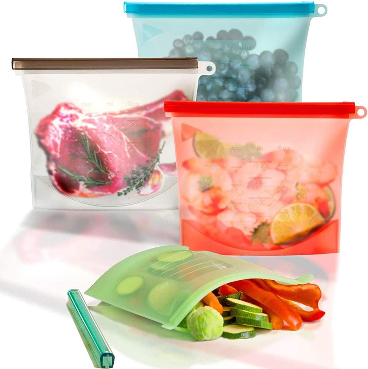 WeTest Silicone Reusable Food Bag for Sandwich,Fruit,Meat,Juice,Lunch,Snack Storage,Food Grade,Microwave Dishwasher Freezer Safe,Leakproof,1 Litre,4-Pack(Pink,Green,Blue,White) (Silicone Food Bag)