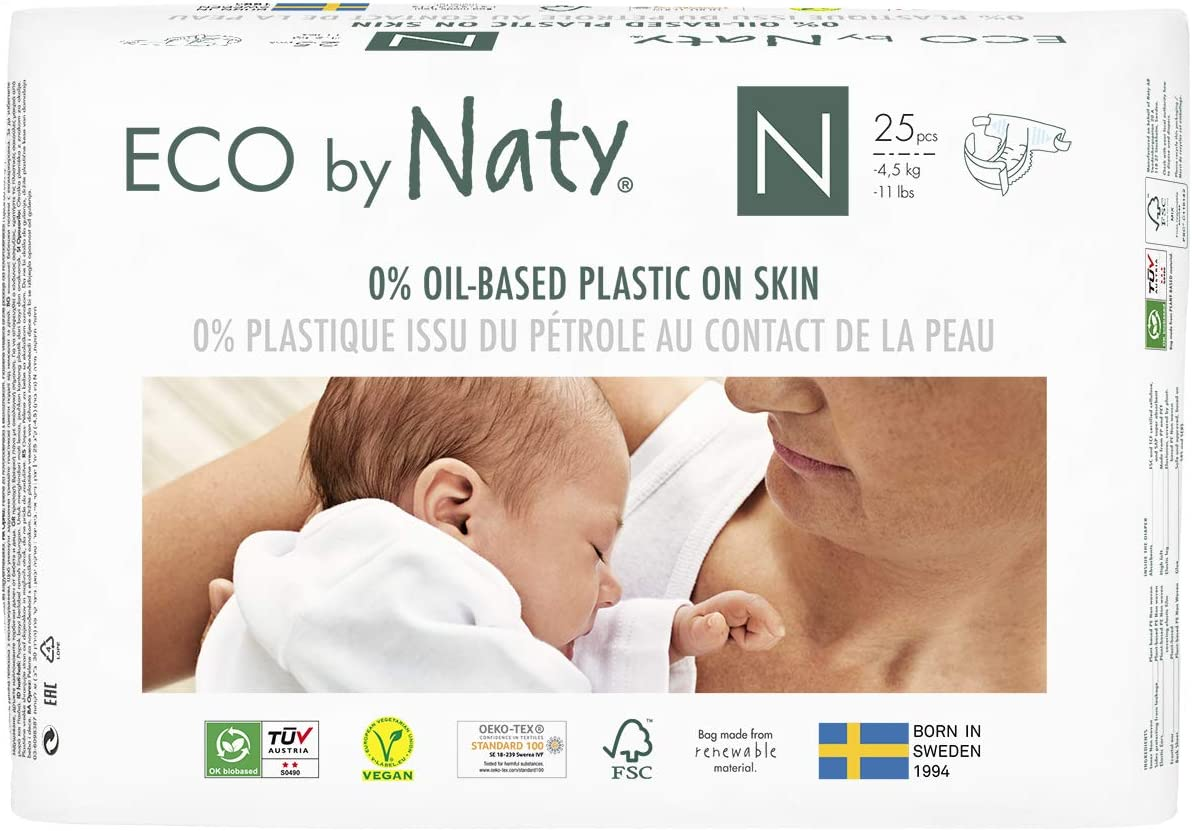 Eco by Naty, Size Newborn, 100 Diapers, -11 lbs, ONE MONTH supply, Plant-based premium ecological diaper with 0% oil plastic on skin
