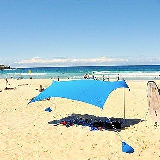 Tente de Plage UPF50 + UV Grand Zone d'ombre Auvent Abri Anti Solaire avec ancrages Sacs de Sable 4 Pinces gratuites pour Camping Pique-Nique Vacances