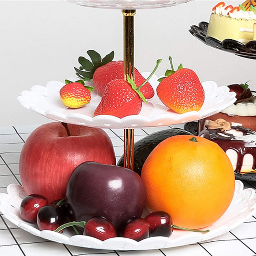 Cake Stand 3-Tier Plastic Party Wedding Home Decor Serving staccabile Fruit Plate Dessert Holder Pasticceria bianco