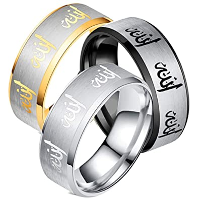lightclub Fashion Men's Arabic Titanium Steel Ring Band Finger