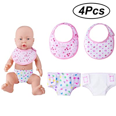 ONESING 4 Pcs Baby Doll Diapers Doll Bibs Doll Underwear for 14-18 Inch Baby Dolls, American Girl Doll: Toys & Games