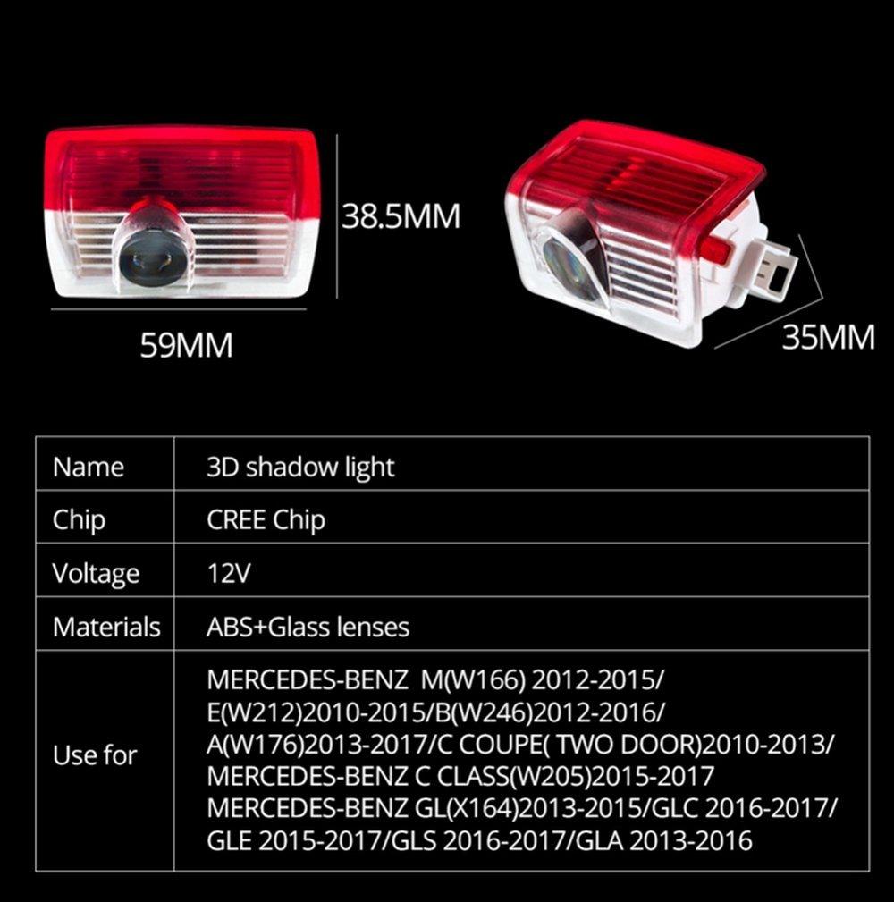 W204 AMG LOGO DEFOV T/ürbeleuchtung Einstiegsleuchte,Autot/ür Licht 3D Logo