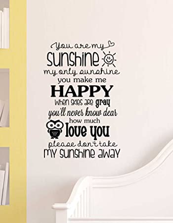 Amazoncom W X H You Are My Sunshine My Only Sunshine You - Wall decals you are my sunshine