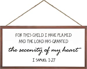 for This Child We Have Prayed Nursery Wood Wall Decor Children's Room Sign Rustic Wood Farmhouse Wall Art Christian Bible Verse Bedroom Decoration for Home Decor Christian Bible Verse Sign