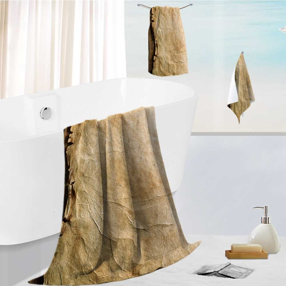 bath towel accessories set Old paper on brown wood board Multi-Purpose Hotel, Spa, Home, 19.7''x19.7''-13.8''x27.6''-31.5''x63''
