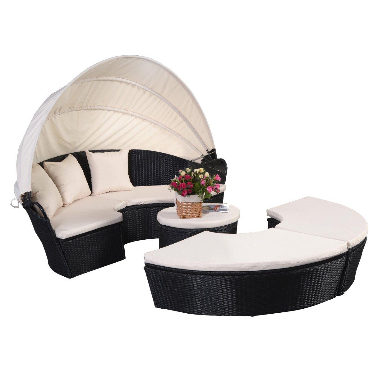 Sonneninsel Sonnenliege Strandkorb Polyrattenliege Rattan Lounge Rattenbett Gartenliege GartenmöbelSitzgarnitur mit Sitzauflage Sonnendach