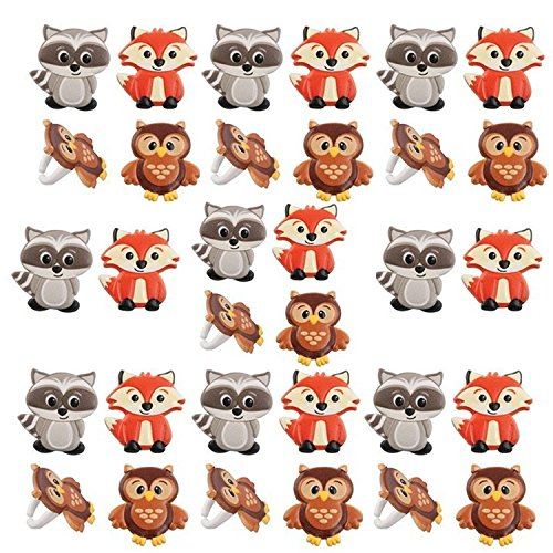 Spring Animal Raccoon - Woodland Animal Friends Cupcake Rings by Bakery Supplies (24-Pack)