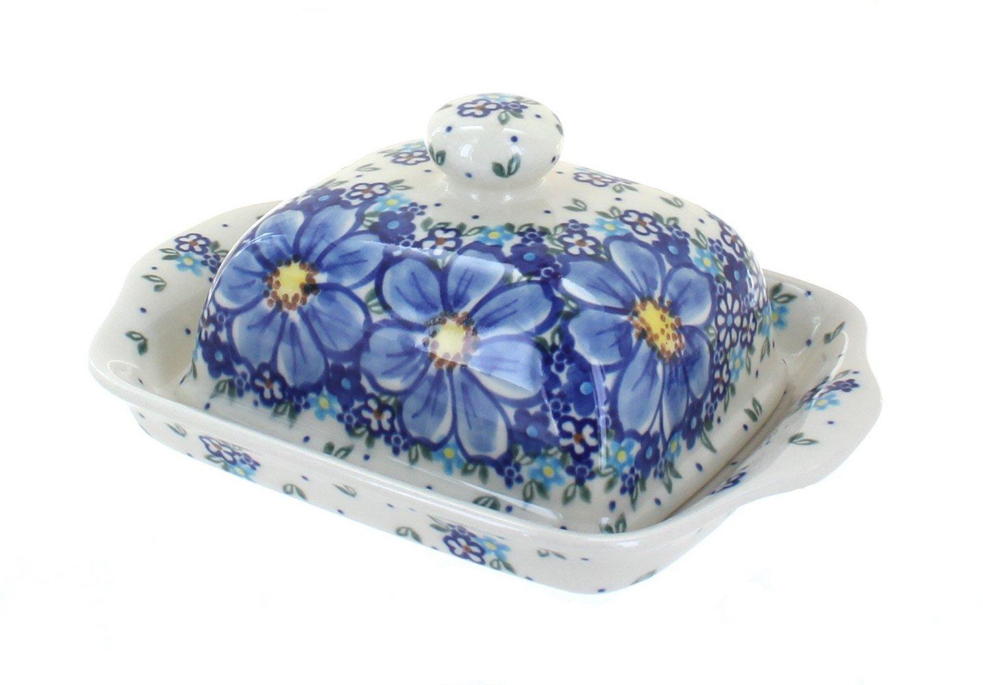 Polish Pottery Blue Starflower Butter Dish