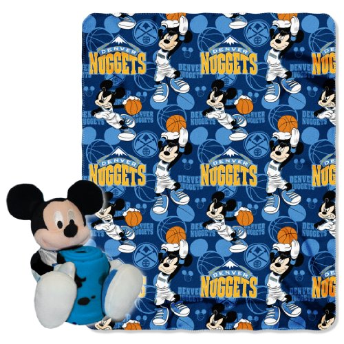 The Northwest Company Officially Licensed NBA Denver Nuggets Co Disney's Mickey Hugger and Fleece Throw Blanket Set