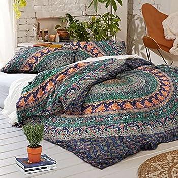 Tanya Handicrafts Mandala duvet cover 3 pieces set Bohemian bedding Duvet cover set Donna cover (Queen)