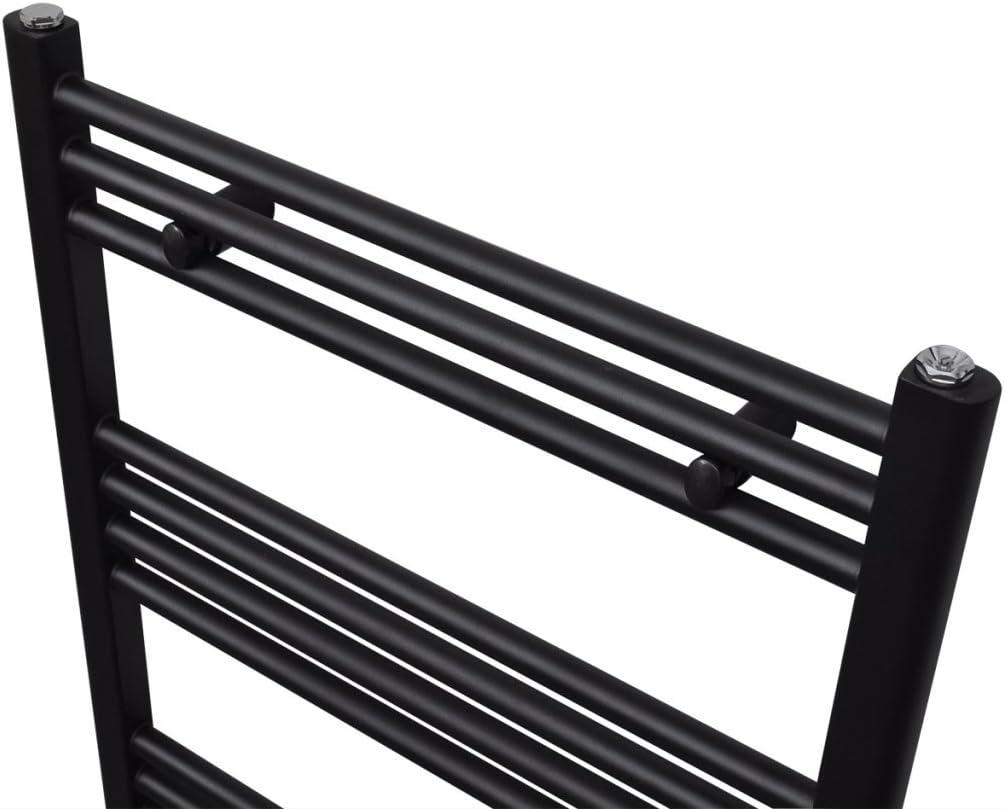 Festnight Radiador Toallero Curvo Calefactor Central de Ba/ño 480 x 480 mm Color Negro