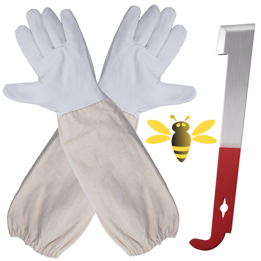 Beekeeping Gloves A Pair of Beekeeping Protective Gloves with Stainless Steel 10.5 Inches Long Beekeeping Hive Tool J Hook Lifter and Scraper Perfect for the Beekeeper